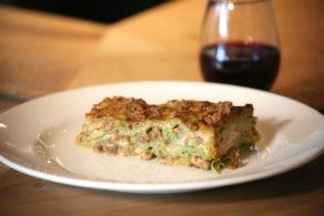 Plate of green lasagna